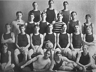 Texas Longhorns men's basketball - The 1906 Texas basketball team—the University's first. Founder, player, and coach Magnus Mainland appears in third row, far left. Holding the ball is team captain C. F. von Blucher.