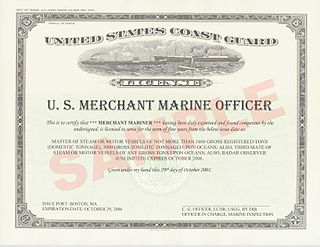 Licensed mariner Sailor who holds a license from a maritime authority to hold senior officer-level positions