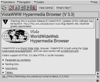 ViolaWWW first to be popular web browser