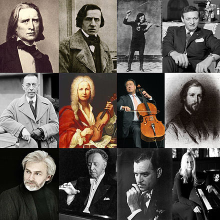 Some known Virtuosi. Top row, from left: Franz Liszt, Frédéric Chopin, Niccolò Paganini, Georges Cziffra. Middle row, from left: Sergei Rachmaninoff, Antonio Vivaldi, Yo-Yo Ma, Charles-Valentin Alkan. Bottom row, from left: Krystian Zimerman, Arthur Rubinstein, Jorge Bolet, Valentina Lisitsa.