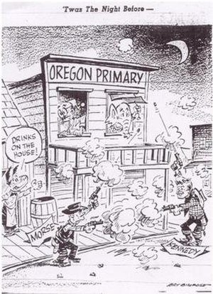 Wayne Morse - Editorial cartoon from The Oregonian during Morse's run for the Democratic nomination.