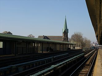 Westchester Square, Bronx - Looking west bound on the Westchester Square platform with St. Peter's church in the distance.