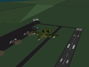 A-10 Cuba! - An A-10 flies down the runway at Mariana Grajales Airport, while two MiG-29's taxi out to intercept.