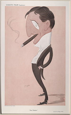 "A. E. W. Mason - ""Four Feathers"". Caricature by Max published in Vanity Fair in 1908."