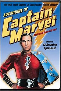DVD front cover for The Adventures of Captain Marvel film serial, starring Tom Tyler in the title role.