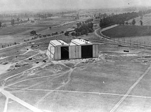 Arcadia, California - U.S. Army's Ross Field Balloon School hangars.