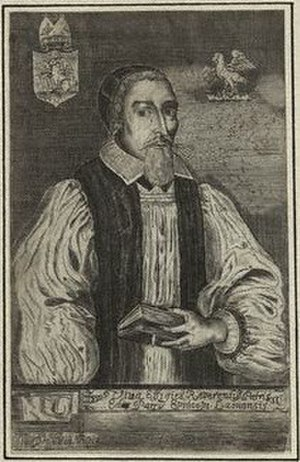 """Edward Parry (Bishop of Killaloe) - An engraved portrait by John Dickson of Dr. Edward Parry, Bishop of Killaloe, from a book authored by the bishop entitled """"David restored; or an Antidote against the Prosperity of the Wicked, and the Afflictions of the Just"""", published at Oxford in 1660."""