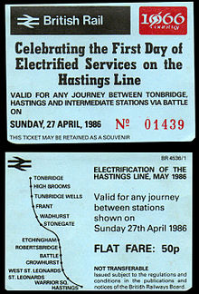 Photograph showing both sides of the souvenir ticket from the first day of electric train operation, 27 April 1986.