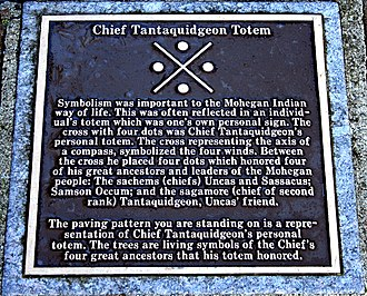 Totem - Personal totem of Mohegan Chief Tantaquidgeon, commemorated on a plaque at Norwich, Connecticut