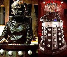 "The left image depicts Gooderson's portrayal of Davros in a Dalek bunker in Destiny of the Daleks; the right image depicts Bleach's portrayal of Davros on the Crucible set in ""The Stolen Earth""."