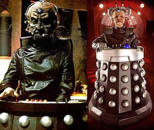 "The Stolen Earth - A side-by-side comparison of Davros in Destiny of the Daleks (portrayed by David Gooderson) and ""The Stolen Earth"" (portrayed by Julian Bleach). The visual design of Davros in ""The Stolen Earth"" is nearly identical to the design for Genesis of the Daleks and Destiny of the Daleks; the only major difference is a robotic right hand."