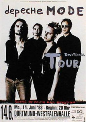 Devotional Tour - Poster advertising the Depeche Mode concert held in Dortmund, Germany.