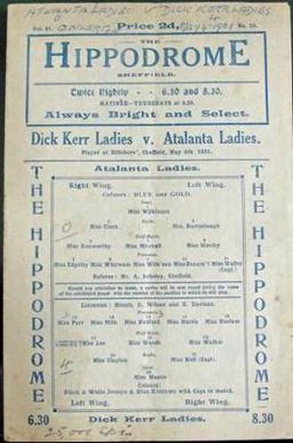Dick, Kerr Ladies F.C. - The official programme from a game against Huddersfield Atalanta Ladies at Hillsborough on 6 May 1921