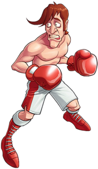 Drawing of a skinny, shirtless man with red hair, red boxing gloves, and white-and-red shorts and shoes. He is looking to the left and appears worried.
