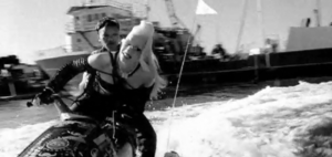 Hella Good - Stefani riding a waterjet scene from the music video.