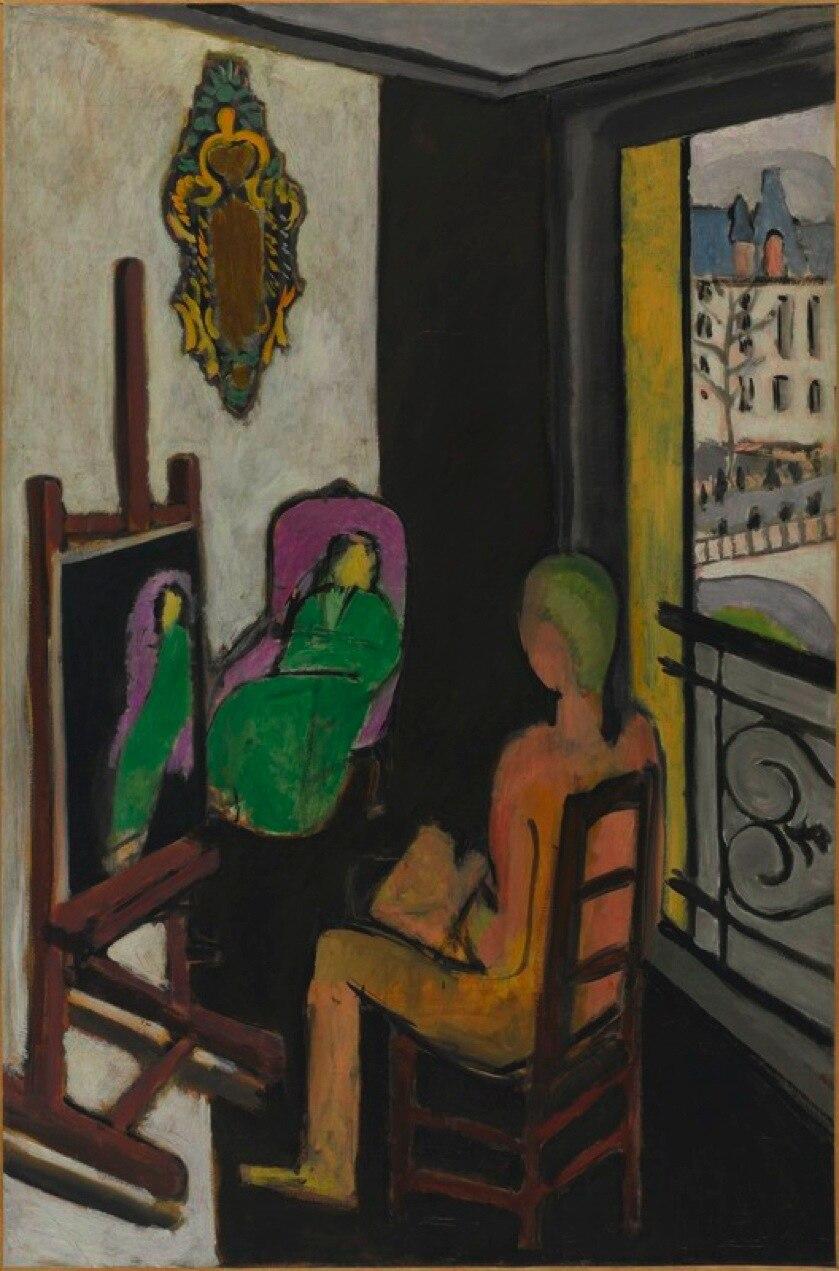 Henri Matisse, 1916-17, Le Peintre dans son atelier (The Painter and His Model), oil on canvas, 146.5 x 97 cm, Musée National d'Art Moderne, Centre Georges Pompidou, Paris