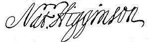 Nathaniel Higginson - Image: Higginson sign
