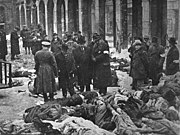Jewish victims of Arrow Cross men in the court of the Dohány Street Synagogue.