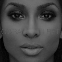 """Un retrato en blanco y negro de un primer plano del rostro de una mujer afroamericana con el nombre de Ciara y el título """"Apuesto"""" centrado en el retrato en letra mayúscula blanca fina."""