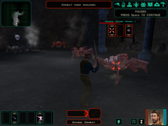 Star Wars Knights of the Old Republic II: The Sith Lords - Screenshot from the first level of the game illustrating the interface and combat system.