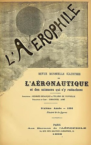 Maurice Mallet - Image by Mallet on cover of L'Aérophile, 1898