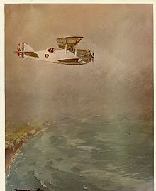 Colour watercolor of an aircraft flying over the coastline of France on the way over the Atlantic.
