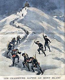 Magazine illustration of French soldiers reaching the summit of Mont Blanc in 1901