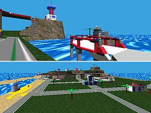 Lego Island - Lego Island as it appears in the game, including the Information Center (top-left) and the Brickster's jail cell (top-right)