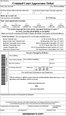 new york city criminal court wikipedia rh en wikipedia org desk appearance ticket nyc lookup desk appearance ticket nyc lookup