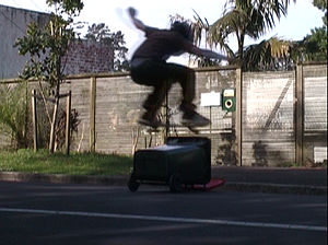 "A skateboarder ""Ollies"" over a rubbi..."