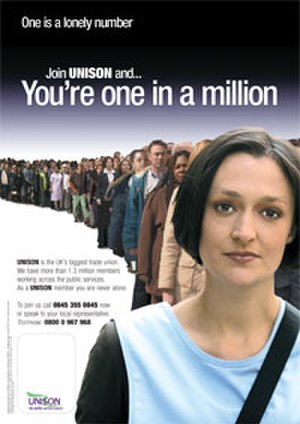UNISON - One in a Million campaign poster.