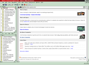 Opera 3.62 displaying Opera's website