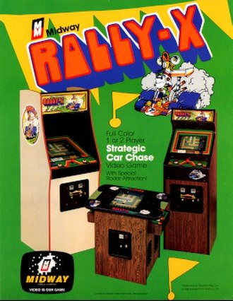 Rally-X - Promotional flyer showing the three arcade cabinets