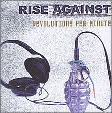 The cover art for Revolutions per Minute, which features a pair of headphones attached to a grenade.