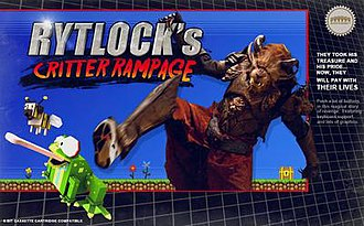Rytlock's Critter Rampage - Spoofed North American box art, depicting Rytlock Brimstone in battle with a toad.