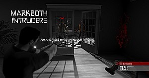 Tom Clancy's Splinter Cell: Conviction - The Mark and Execute gameplay in use. Here, Sam Fisher guns down burglars in the tutorial flashback.