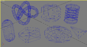 Autodesk 3ds Max - 3ds Max Extended Primitives: Torus Knot (top left), ChamferCyl (top center), Hose (top right), Capsule (bottom left), Gengon (bottom, second from left), OilTank (bottom, second from right) and Prism (bottom right)