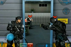 Tom Clancy's Rainbow Six: Shadow Vanguard - The tagging system in Shadow Vanguard; the two red marks indicate enemies that have been tagged and will be killed immediately by the computer controlled allies upon entering the room.