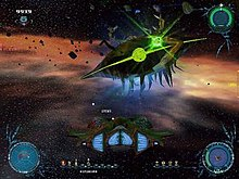 A screenshot of Sinistar: Unleashed. It displays a dark-shaded ship in the lower middle of the screen, battling a big bio-mechanical green-lighted machine. It additionally displays some gameplay information, such as the life level, weapons and power-ups, as well as the asteroid-filled background.