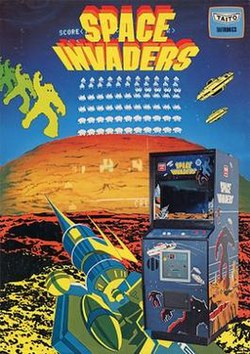 A promotional flyer for Space Invaders: an arcade display on the bottom-right corner is shown over a laser cannon surrounded by aliens and saucers; the background contains the screen against a background of a canyon and a block mountain; the Space Invaders and Taito logos are displayed on the top of the poster.