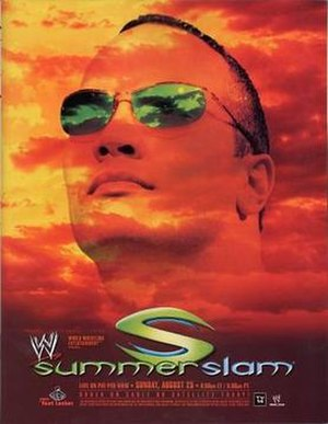SummerSlam (2002) - DVD cover featuring The Rock and Brock Lesnar