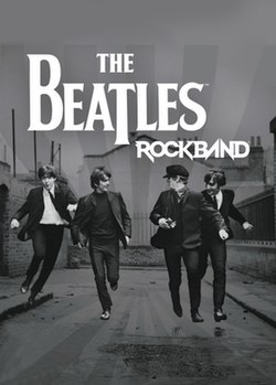 A black-and-white image, showing the four Beatles running in the foreground, against a block of buildings, styled with the game's logo and a grayscale starburst from the center