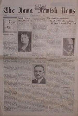 The Iowa Jewish News - Cover of The Iowa Jewish News