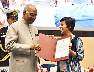 Tiffany Brar receiving National Award from the Honourable President of India, Dr.Ram Nath Kovind Tiffany Brar receiving National Award from the President of India,Dr.Ram Nath Kovind.jpg
