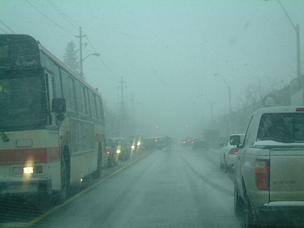 A hybrid Frontal-Lake Effect Snowsquall hitting Toronto, Canada during rush hour. Toronto lake effect frontal squall.JPG