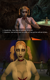 Double image of blonde, female vampire