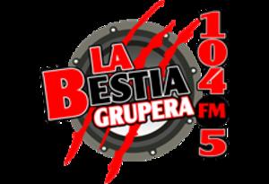 XHCU-FM - Image: XHCU la Bestia Grupera 104.5 logo