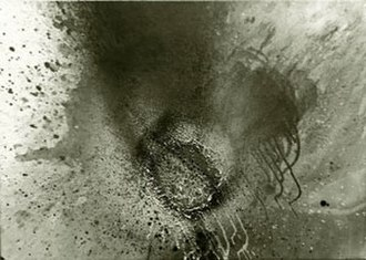 Otto Piene - Silver Fire, acrylic and scorch marks on linen, 1973, Honolulu Museum of Art