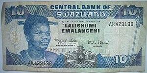 Swazi lilangeni - E10 banknote