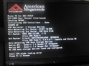 "BIOS - An American Megatrends BIOS showing a ""Intel CPU uCode Loading Error"" after a failed attempt to upload microcode patches into the CPU"